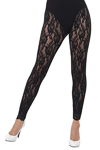 Fancy Me Damen-Leggings mit Spitze 80er-Jahre-Stil, Fußlos, 1980er-Jahre-Achtziger-Jahre-Stil, Halloween-Kostüm-Zubehör (Achtziger Jahre Stil Kostüm)