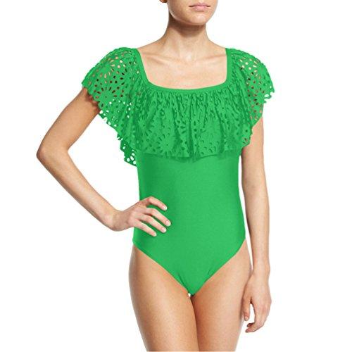 ZhiYuanAN Donne Swimwear Off Shoulder Fiori Increspato Casual Spiaggia Bodysuit Costume Da Bagno Sexy Push Up Bikini Erba Verde