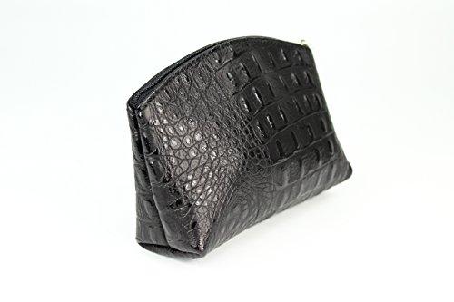 BELLI Bellini kleine Leder Kosmetiktasche Make Up Tasche - Farbauswahl - 18x13x5 cm (B x H x T) Schwarz kroko