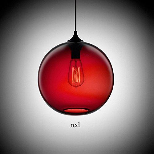 Pointhx Minimalismo Industrial 6 Color de la Bola de Cristal Accesorios de Luces Esféricas Lámpara de Techo de Cristal Colgante para la Cocina Restaurante Comedor/Sala Cafetería (Color : Red)