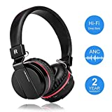 Active Noise Cancelling Wired/Wireless Bluetooth Headphones with Mic,Adjustable Foldable on the Ear,Soft Memory-Protein
