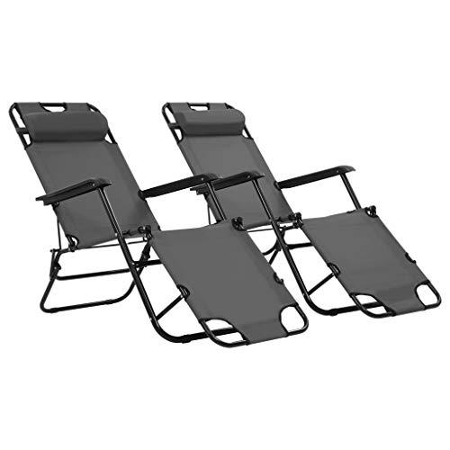 Festnight- 2 Stück Sonnenliegen Liegestuhl Relaxliege mit Fußstütze Grau 175 x 61 x 87 cm, Klappstuhl Gartenliege Klappbar