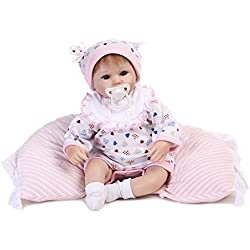 Nicery 18inch Renacido de la muñeca de silicona suave vinilo 45cm magnética Boca realista Niño Niña de juguete blanco babero almohada ojos abiertos Reborn Doll A3ES