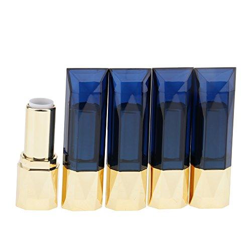 Homyl Lot 5pcs 12ml Plastique Carré Tube Vide à Rouge à Lèvres - Bouteille Cosmétique à Lip Balm / Baume à Lèvres - Bouteille Cosmétique à DIY Bricolage de Bâton à Lèvres / Lipstick - Bleu