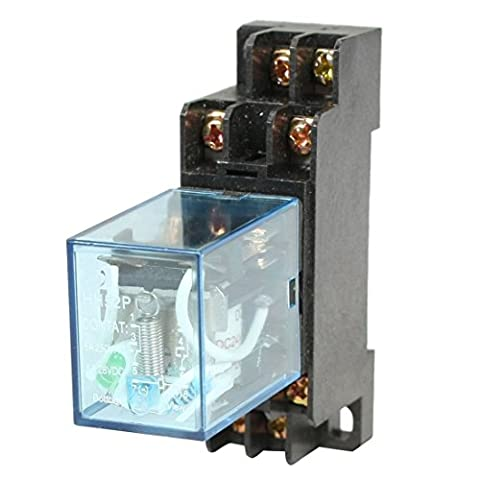 HH52P Electromagnetic Relay - TOOGOO(R)HH52P DC 24V Coil DPDT 8 Pins Electromagnetic Power Relay with DYF08A Base, Black+ Clear Blue