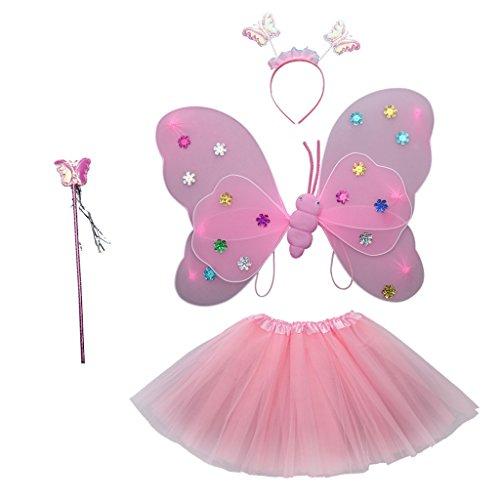 MagiDeal Neugeborenes Baby Rock Tutu Kleidung Schmetterling Kostüm Foto Prop Outfits Bekleidung Set - Rosa (Neugeborenen Schmetterlings Kostüm)