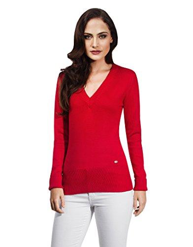 Vincenzo Boretti Damen Pullover V-Ausschnitt V-Neck modern elegant chick edel weich Strick-Pullover rot L (Pullover Rot Gerippt)