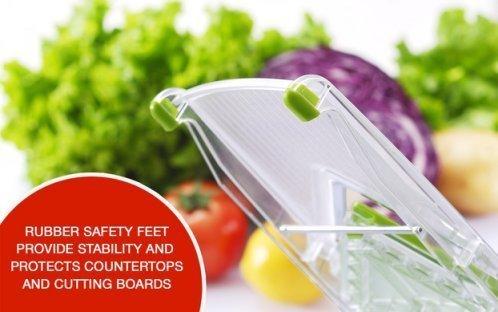 NexGadget V-Blade-Gemüsehobel,Reibe mit 4 V-Blade Klingen,Zwiebelschneider – Pommes Kartoffelschneider mit Edelstahl-Blatt,schneidet Scheiben,schneidet Stifte - 2