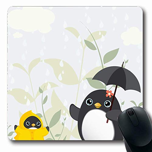 Luancrop Mousepad für Computer Notebook Kind Mutter Regen Tag Mama Baby Pinguin Tropfen Natur Familie Regenschirm After School Design rutschfeste Gaming Mauspad - Mama Pinguin
