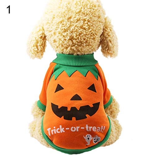 MAJGLGE Dog Accessories T-Shirt Lovely Pet Puppy Dog Halloween Pumpkin Witch T-Shirt Soft Clothes Costume Jacket - 1# - Scary Witch Kostüm