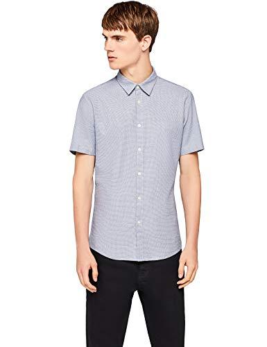Find camicia a manica corta in cotone uomo, blu (chambray), large