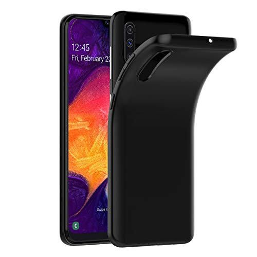 Funda VGUARD Compatible con Samsung Galaxy A50, Funda de silicona blanda de TPU Funda delgada negra para Samsung Galaxy A50