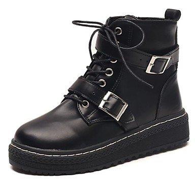 RTRY Scarpe Donna Pu Cadere Comfort Combattere Stivali Stivali Tacco Piatto Rotondo Mid-Calf Toe Stivali Fibbia Per Casual Black Nera Noi6.5-7 / Eu37 / Uk4 5-5 / Cn37 US8.5 / EU39 / UK6.5 / CN40