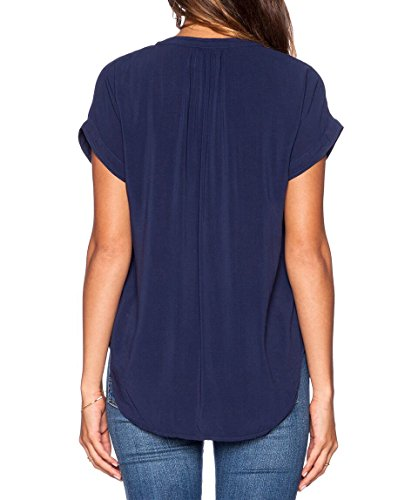 LILBETTER Damen Chiffon-Bluse mit V-Ausschnitt Kurzarm-Spitze Hemden Abbildung 3