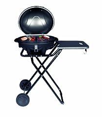 Idea Regalo - SUNTEC Barbecue/braciere elettrico BBQ-9493 [cofano amovibile con indicatore di temperatura, ripiano d'appoggio, 46x35 cm piastra, piede d'appoggio con ruote, max. 2400 W]