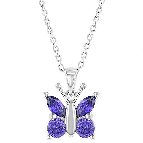 925Sterling Silber Lila CZ Schmetterling Anhänger Halskette Mädchen Teens 40,6cm (Schmetterling Halskette Für Mädchen)