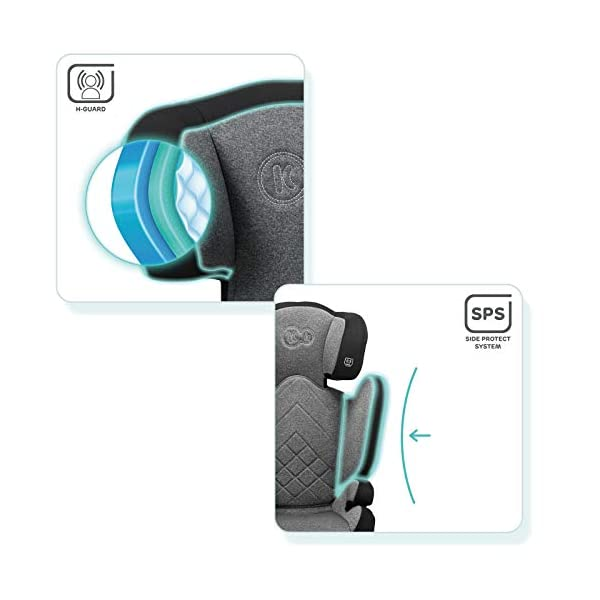 Kinderkraft Car Seat XPAND Child's Booster Seat with System ISOFIX Adjustable Headrest Side Protection Group II/III (15-36kg) to 12 Years Crashtested Safety Certificate Intertek and ECE R44/04 Gray kk KinderKraft Car Seat - The Xpand car seat ensures safety during every journey. Secure - Equipped with fixing system ISOFIX, which guarantees a stable and safe position for your child. Alternatively, secure with car seat belts. Comfort - The wide, deep seat provides comfort even during long hours of travel and the headrest adjustment allows parents to adjust the seat to each child. 4