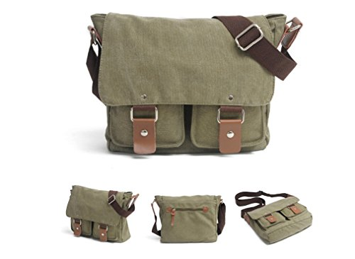 Muchuan , Borsa Messenger  Donna Uomo, Coffee (marrone) - FM-17 Army Green