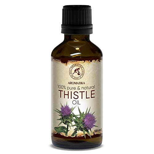 Mariendistelöl 50ml - Kaltgepresst - Silybum Marianum Seed Oil - 100% Rein und Natürlich Mariendistel Öl - Intensive Pflege für Haut - Gesicht - Körper - Haare - Glasflasche - Thistle Oil -