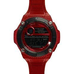 Wize &Ope-Wax - 3-2-Wax-Armbanduhr, Digital-analog Polyurethan, Rot