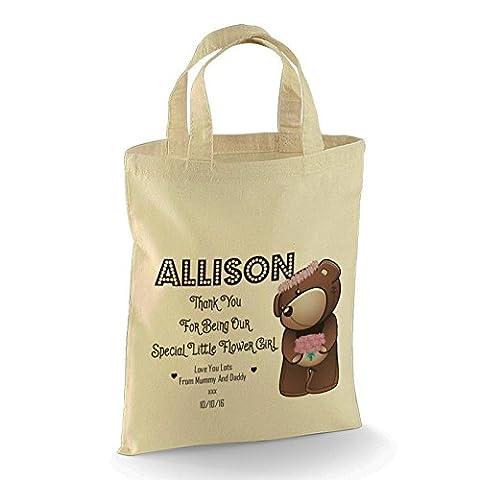 Personalised Flowergirl Teddy Design Gift Bag. Wedding Favour for your Wedding Bridal Party Medium bag 26 x 32