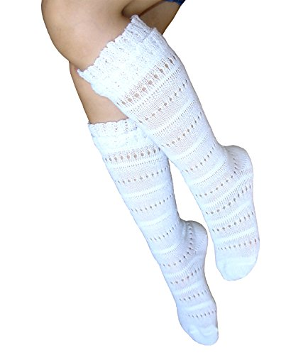 JHosiery Mädchen nahtlose Pointelle Kniestrümpfe mit weichen Manschetten für empfindliche Füße (31-35, 2 Paar Weiß)