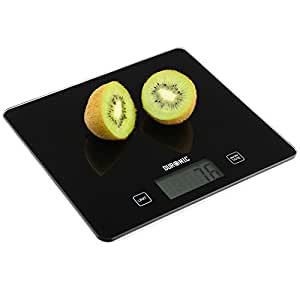 Duronic KS875 Slim Black Glass Surface Design Digital Display 5KG Kitchen Scales with 2 Years FREE Warranty