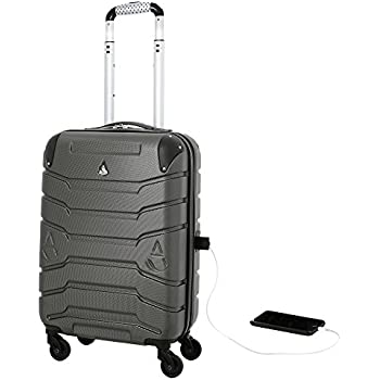 Aerolite SMART Suitcase with USB Phone Charger Port, ABS Hard Shell 4 Wheel Carry On Hand Cabin Luggage , Approved for Ryanair, easyJet, British Airways, Jet2, Virgin Atlantic & Many More! (Charcoal)