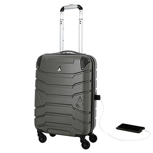 Aerolite SMART Koffer mit USB Port zum Laden, ABS Hartschale 4 Rollen Bordgepäck Handgepäck Trolley Koffer Gepäck , Genehmigt für Lufthansa, easyJet, Ryanair und Viele Andere (Kohlegrau) (Iata Cabin Trolley)