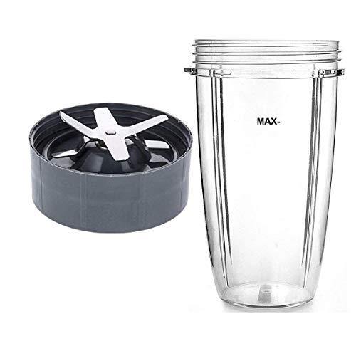 Cikuso Nutri Compatible Tasse de 32 Once et Kit de Remplacement de Lame - Grand Mélangeur Tasse & 6 Accessoires pour Lames D'Extracteur D'Ailettes