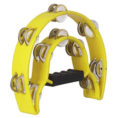 Healifty Hand Tambourin Halbmond Form Doppelter Schellenring Schellentrommel Schellenkranz Musikinstrumente (gelb)