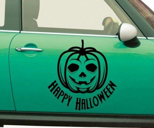 Autoaufkleber Happy Halloween Kürbis Text Pumpkin Sticker Aufkleber Auto 5O071, Farbe:Königsblau Matt;Breite vom Motiv:40cm