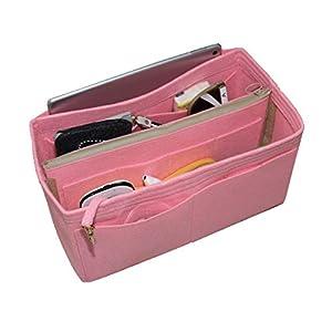 [Passt Artsy MM, Pink] Felt Organizer (mit abnehmbaren mittleren Zipper Bag), Tasche in Tasche, Wolle Geldbörse einfügen…