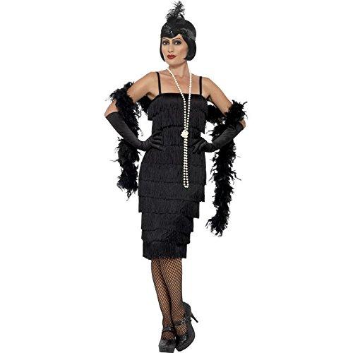 Smiffy's 45502S - Damen Flapper Kostüm, Langes Kleid, Haarband und Handschuhe, Größe: 36-38, schwarz