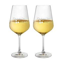 AMAVEL Weißweingläser, 2er Set Weingläser mit Gravur für Oma und Opa, Motiv 3, gravierte Weingläser aus Klarglas