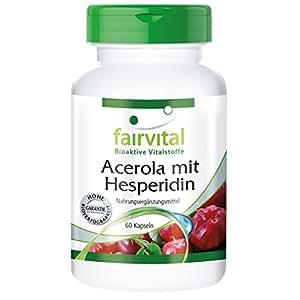 Acérola avec Hespéridine - avec une haute concentration d'extrait de pépins de pamplemousse et de la vitamine C - 60 gélules