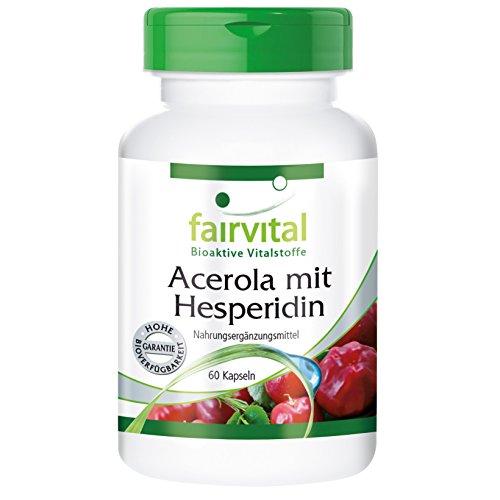 Acerola con Hesperidina - VEGANO - 60 Cápsulas - con la vitamina C y extracto de semilla de pomelo - ¡Calidad Alemana garantizada!