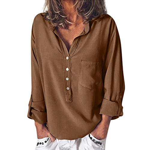 LOPILY Damen Einfarbige Tunika Sommer Stehkragen Bluse Verstellbare Ärmel Freizeit Long Shirts Damen Herbst V-Ausschnitt Lässige Lose Tunika mit Taschen Modische Basic Fransen Shirts (Dunkelbraun, 36)