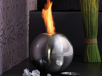 Deko Feuer Edelstahl Bio-Ethanol Kugelförmig