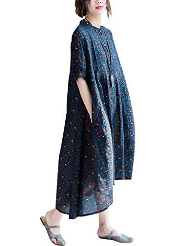 Youlee Donna Collo Alto Plaid Manica Corta Cotone Lino Vestito Blu scuro