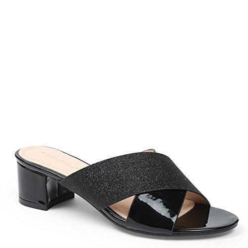 Ideal Shoes–Sandale à talon Dick mit Gurten Promotions und Schmucksteinen maelice Schwarz - Schwarz