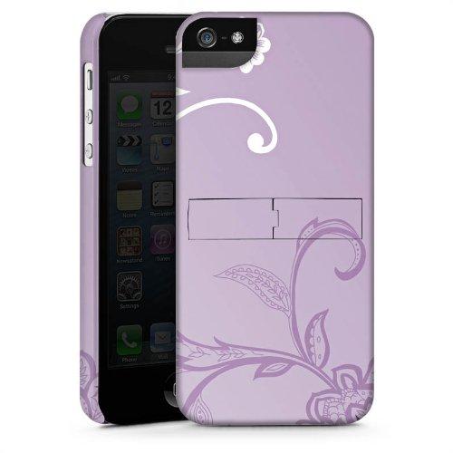 Apple iPhone 5 Housse Étui Silicone Coque Protection Vrilles Fleurs Fleurs CasStandup blanc