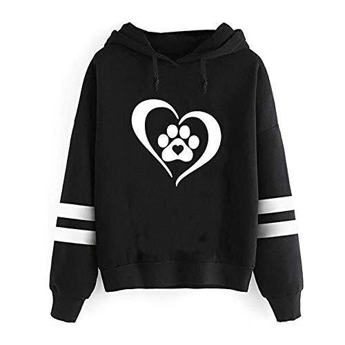 GiveKoiu-Clothings Jumper Dress Teens,Women's Outdoor Fleece Jackets,Womens Fashion Print Long Sleeve Hooded Solid Pullover Tops Blouse Shirt,Black,XL