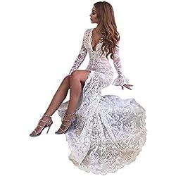 Vestidos para Mujer,Elegante Vestido de Novia Vestidos de Boda del cordón Fiesta Vestidos Vestido de Cóctel Vestido de Noche Vestido Moda Slim Fit Vestidos Largo Sexys Cuello en v Vestidos vpass