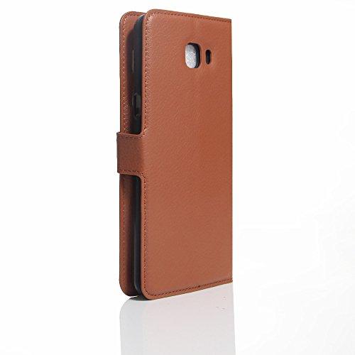 Coque Samsung Galaxy A7 (2017) - EUGO Flip Housse Étui coque de protection en Luxe cuir pour + 1 × Noir Stylet d'Ecran Tactile - Noir Marron