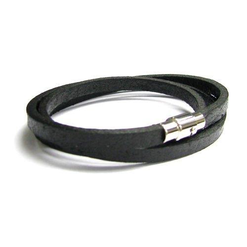 Queenberry 316L Edelstahl 3runden Licht schwarz flach Leder Kordel 5mm Magnetic Armband Armbänder 20,3cm