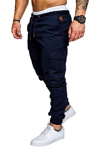 Socluer Homme Pantalons Casual Jeans Sport Jogging Slim Fit Militaire Cargo Montagne Baggy Pants Multi Poches Grande Taille M-4XL (L, Bleu)
