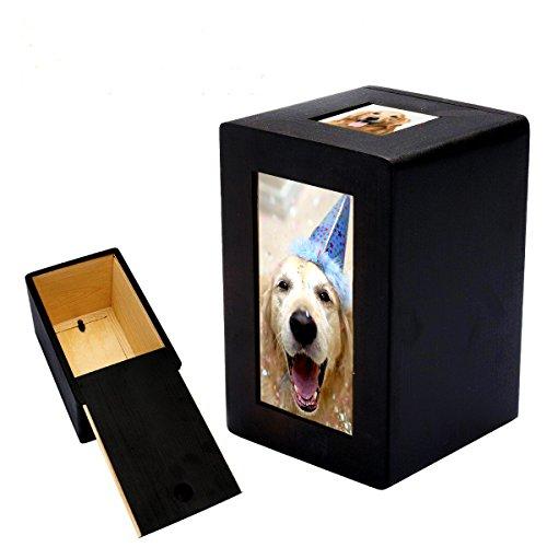 Homelix Pet Feuerbestattungsurne aus Holz Erinnerungsurne Foto Box für Katzenhund - Urn Katze Foto