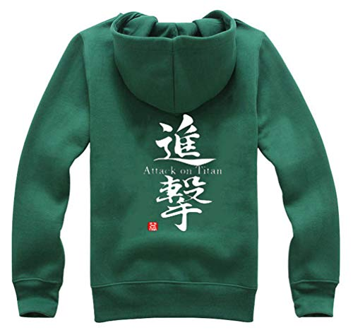 Cosstars Anime Shingeki no Kyojin Attack on Titan Hoodie Jacket Cosplay Kostüm Zipper Pullover Jacke Outwear Sweatshirt Mantel Grün-4 XL -