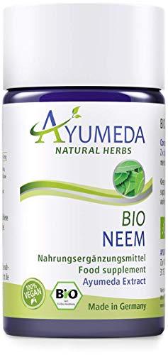 Ayumeda BIO Neem Extrakt | Azadirachta indica |Arishtaka | Neembaum | Niem | 132,3 mg Bitterstoffe je Tagesdosis | Geprüfte Qualität | Made in Germany | 60 Kapseln für 1 Monat | 100% BIO | 100% Vegan